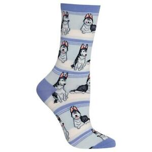 Husky Dog/'s Hot Sox Women/'s Crew Socks Periwinkle New Novelty Bark Fashion*