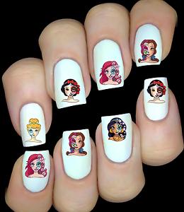 Disney-Princesses-sugar-skull-ongles-manucure-nail-art-water-decal-sticker