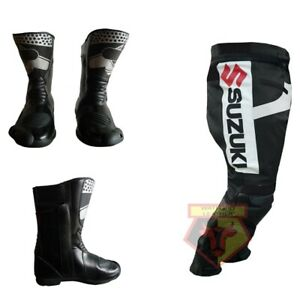 SUZUKI-GSX-BLACK-MOTORBIKE-COWHIDE-LEATHER-ARMOURED-TROUSER-WITH-MATCHING-BOOTS