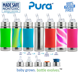NEW-Pura-Kiki-Stainless-Steel-Toddler-Baby-Infant-Straw-Bottle-11-oz-W-Cover