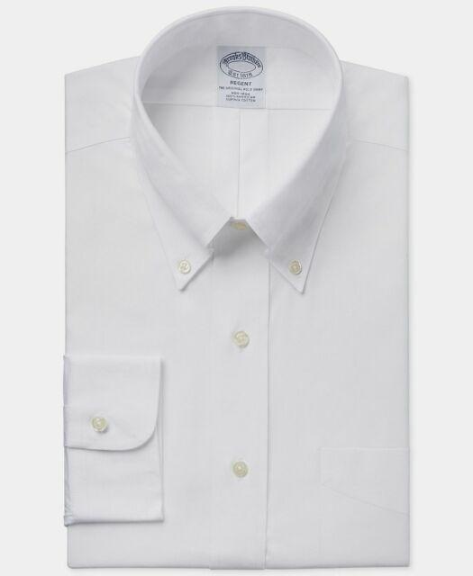 Brooks Brothers 15 - 32 Men's Regent Fit White Long Sleeve Polo Dress Shirt