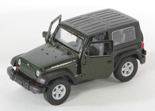 BLITZ VERSAND Jeep Wrangler Rubicon dunkel grün green Welly Modell Auto 1:34 NEU