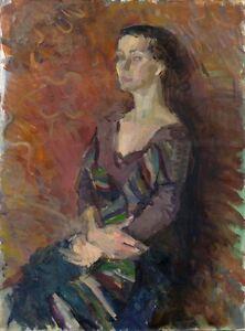 Russischer-Realist-Expressionist-Ol-Leinwand-034-Maedchen-mit-Schal-034-80-x-60-cm