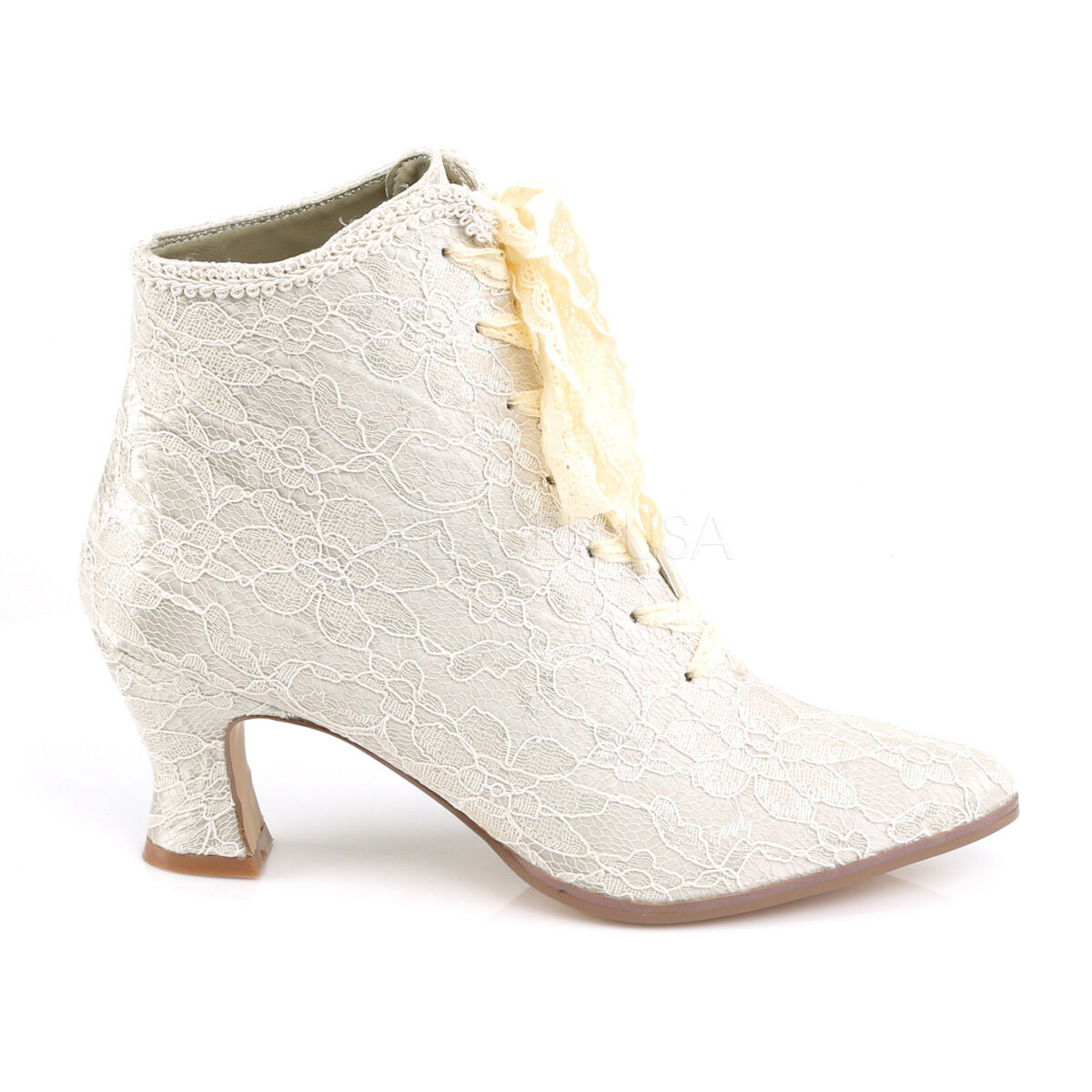 Champagne Satin Lace Overlay Old Fashioned Victorian Victorian Victorian Ankle Stiefel Stiefelie ee0454