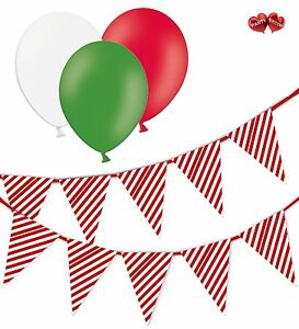 Christmas-Bundle-Candy-Cane-Mix-Bunting-Banner-15-flags-amp-25-Asst-latex-balloons