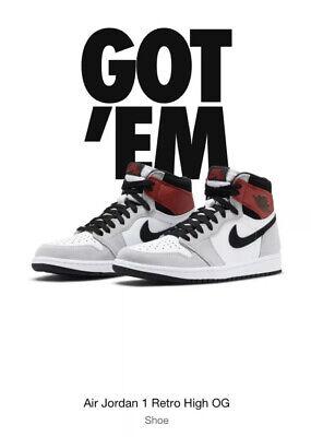 Nike Air Jordan 1 Retro High Og Light Smoke Grey Red Men S Size 8