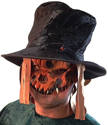 HALLOWEEN//Evil//Creepy//Fancy Dress SCARECROW MASK HAT /& WEAPON SET One Size