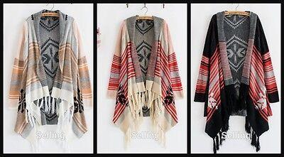 Boho Tribal Indian Bohemian Kimono Cape Jacket Gypsy Cardigan Tassel Aztec Thin