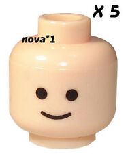 LEGO 5 X SMILEY HEAD  FLESH TONE FOR MINIFIGURE NEW