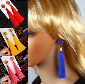 Hot-1-Pair-Women-New-Bohemian-Style-Long-Tassel-Dangle-Fringe-Hook-Earrings-Gift