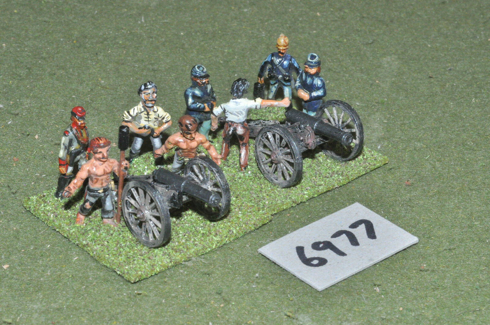 25mm ACW   american - 2 guns & crew metal painted - art (6977)