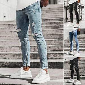 Jeanshose Röhrenjeans Straight Cut Slim Fit Hose Clubwear Herren OZONEE 13122