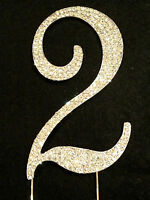 Large Rhinestone Number 2 Cake Topper Silver Gold Crystal Birthday Anniversary