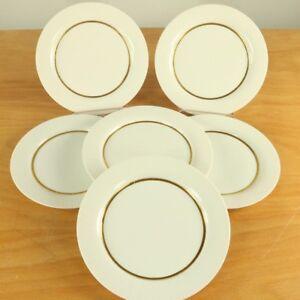 6-Kuchen-Teller-19-7cm-Rosenthal-Modulation-Gold-Rand-Band-Porzellan-Wirkkala