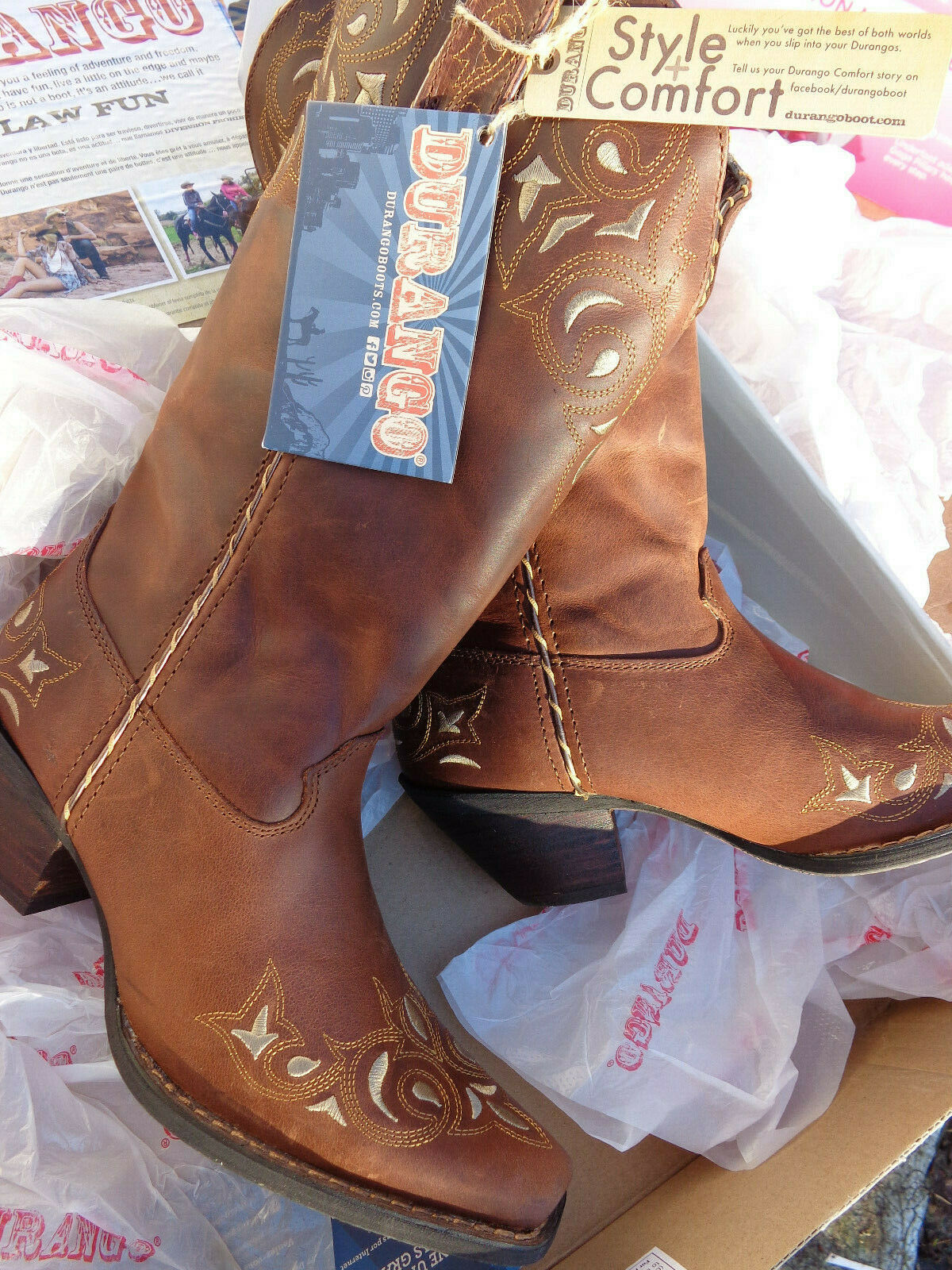 Durango RD5414 Women's Crush 12  Sew Sassy Western Brown Boots Size 8.5 M