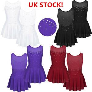Girl-Sparkly-Figure-Ice-Skating-Dress-Lyrical-Modern-Dance-Tutu-Skirt-Costume-UK