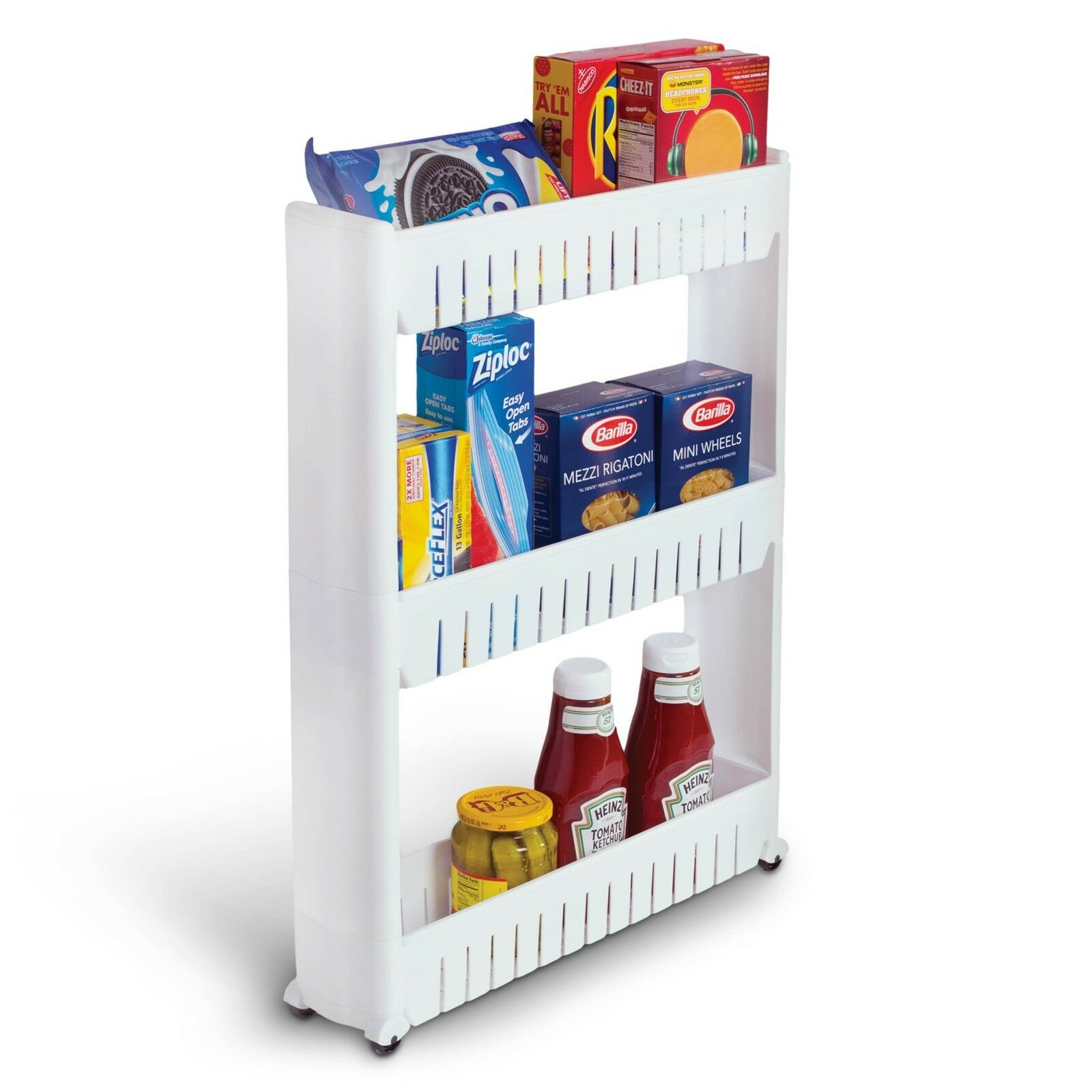 Bathroom and Kitchen Slim Storage Organizer - Slide Out Shelf Storage Tower as a