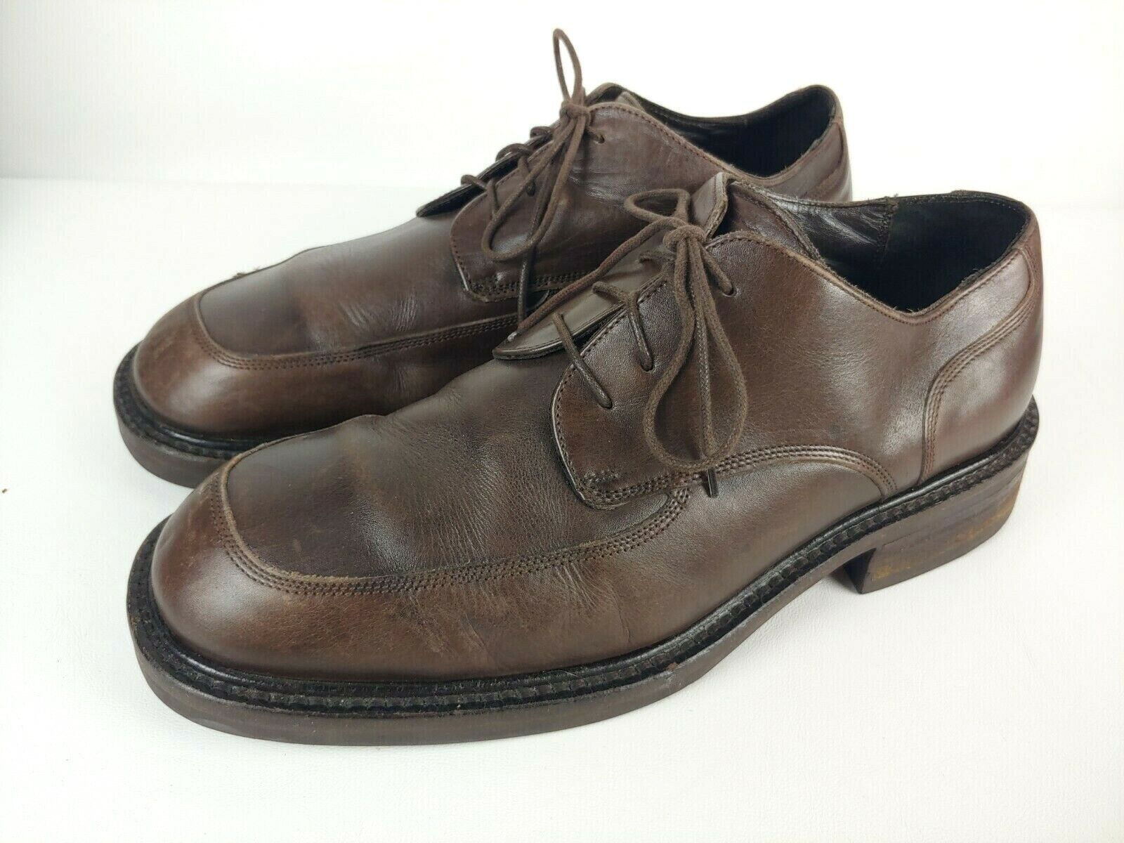 Men's Kenneth Cole New York Brown Leather Lace-Up Oxford Dress Shoes Size 11 M