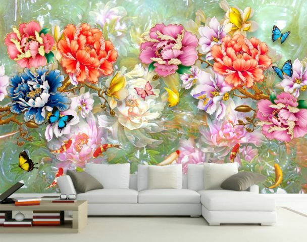 3D Peonia colore  Parete Murale Foto Carta da parati immagine sfondo muro stampa