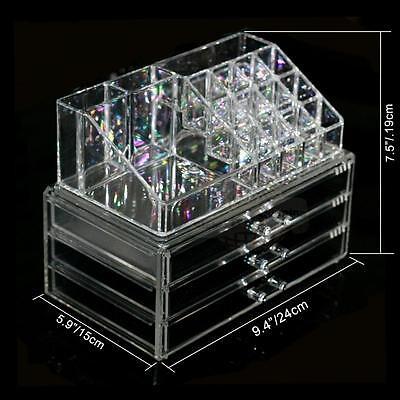 Makeup Cosmetics Organizer Clear Acrylic 3 Drawers Display Box Storage New