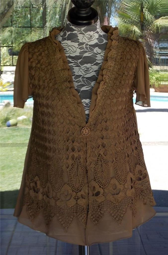 New braun Pretty Angel Macrame Overlay Ruffle Neckline Over Shirt Sz. S, M, L