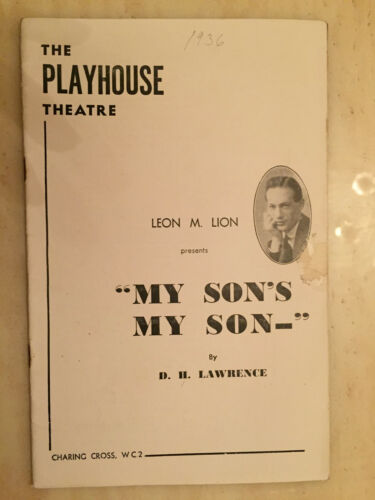 Playhouse Theatre Programme- LOUISE HAMPTON - GYLES ISHAN in MY SON'S MY SON-