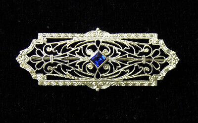 Vintage 10k Bar Brooch Free Shipping 10k White Gold 1920s Edwardian Art Deco Bar Brooch