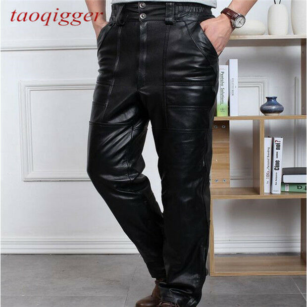 Mens Leather Loose Outdoor Winter Pants Warm Straight windbreaker Trousers 30-42