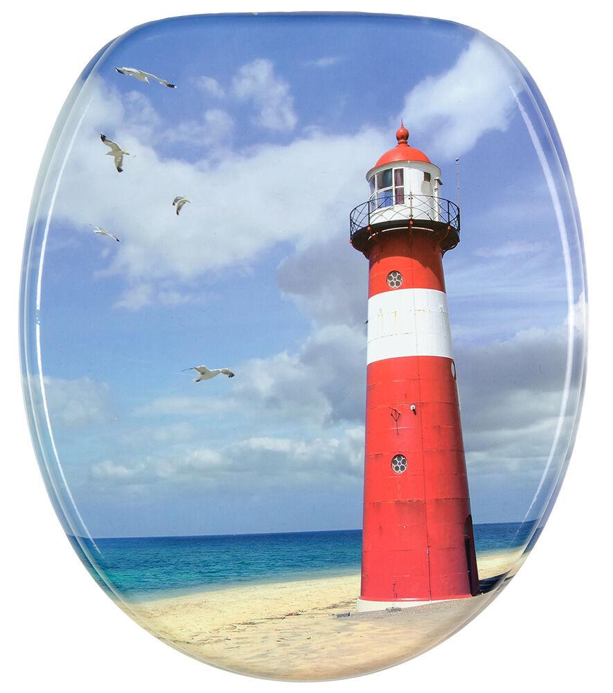 Cierre suave Impreso WC Asiento De Inodoro   estable Bisagras   lenta   Lighthouse