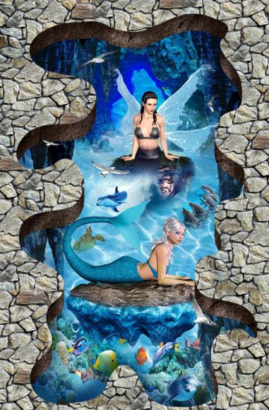 3D Meerjungfrau 91 Fototapeten Wandbild Fototapete Tapete Familie DE Lemon