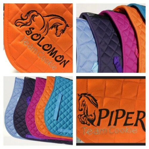 PERSONALISED embroidered Saddlecloth Choice of Colour **LUCY SHOWJUMP DESIGN**
