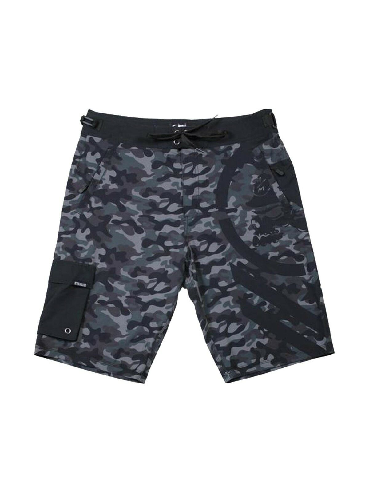 Metal Mulisha Men's Snare Camo Boardshorts Motocross Designed Skull Logo Trunks
