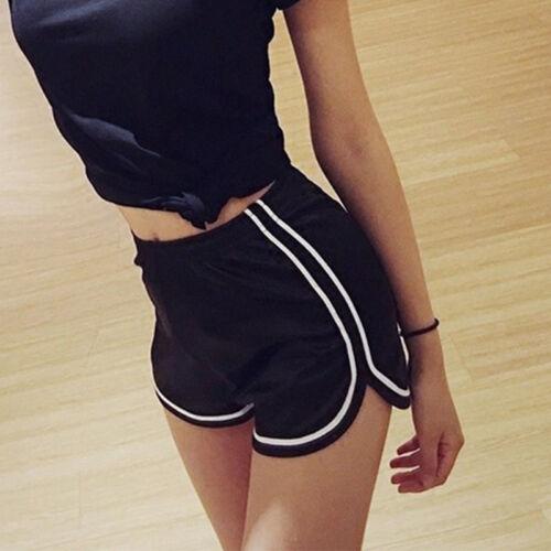 Damen High Waist Shorts Hotpants Kurze Hose Sommer Fitness Gym Pants Sporthose