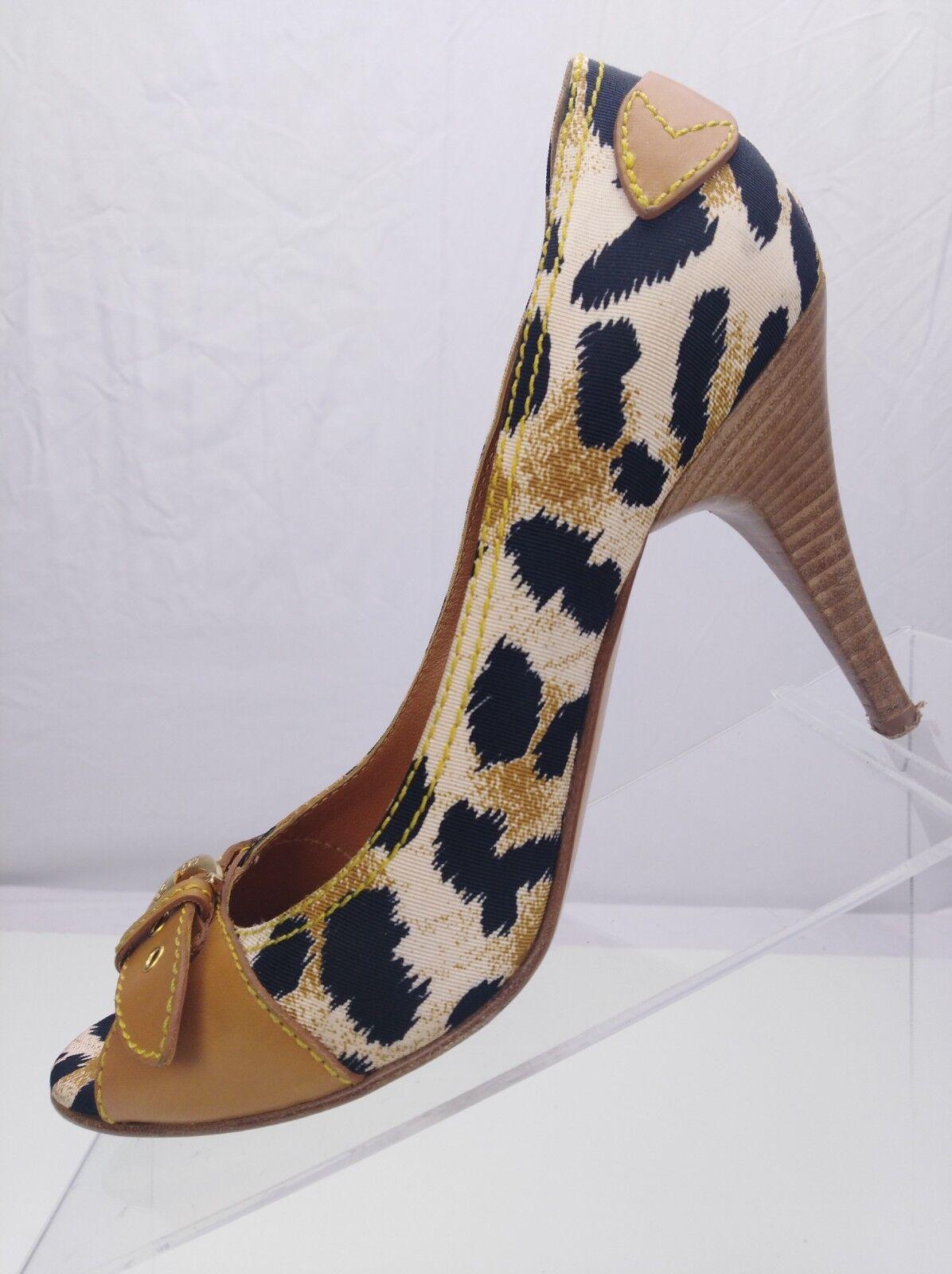 Casadei Heels- Peep Toe Leopard Prints Prints Prints Classic Pumps  femmes 8.5 marron Blck faaca4