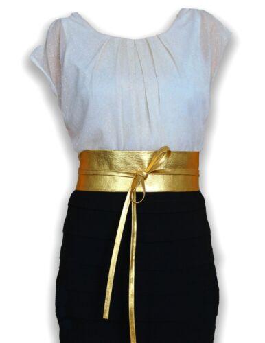 """New Plus Size VIKTOR SABO OBI GOLD Foil Lambskin For Waistline Up To 65/""""//165 cm"""