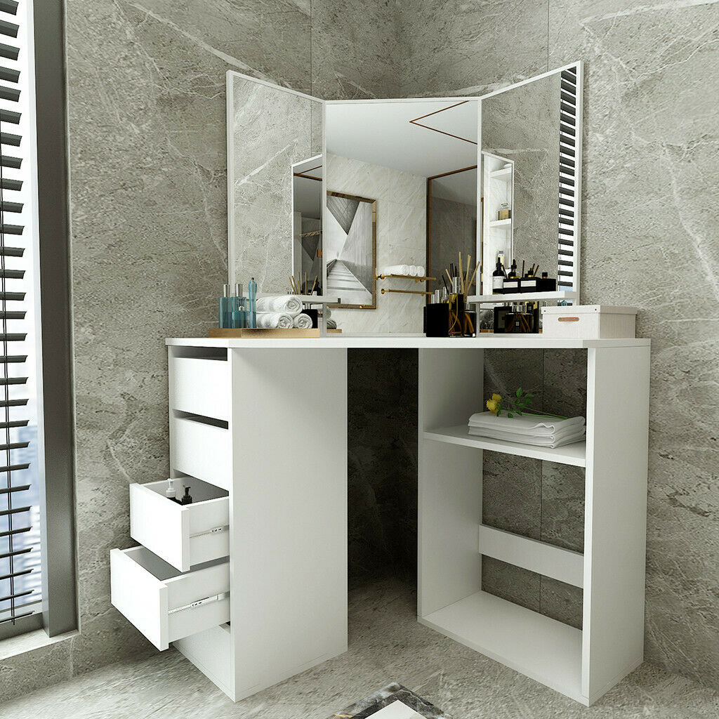 Modern Bedroom White Corner Makeup Vanity Table With 3 Mirrors And 5 Drawers Us For Sale Online