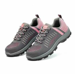 Womens Breathable Lightweight Safety Work Boots Steel Toe Hiking Shoes Sneakers