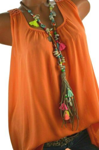 ITALY Bluse Top Hippie Tunika Hängerchen Mandala Häkel Rücken Shirt 36 38 40 NEU