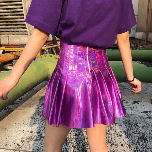 High Waist Hologram Laser Pleated Mini Skirt Vinyl Skater Shiny Wet Look Fashion