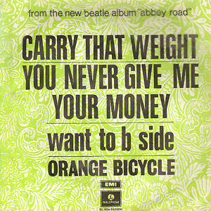 ORANGE-BICYCLE-Carry-That-Weight-1969-SINGLE-BEATLES-7-034-RARE-DUTCH-PS