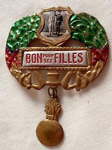 Insigne-WWI-1914-1918-DE-CONSCRIT-BON-POUR-LES-FILLES-ORIGINAL-FRANCE-MILITAIRE