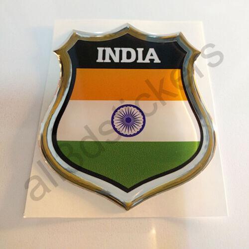 Sticker India Emblem 3D Resin Domed Gel India Flag Vinyl Decal Car Laptop
