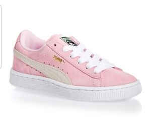 e096345eaf01e0 Puma Kids Suede Sneakers Junior Pink Lady White Gold 355110-30 Size ...