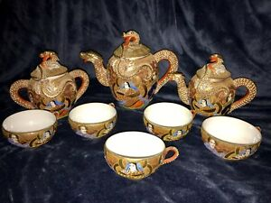 Retro-Vtg-11-pc-Japanese-Porcelain-Ceramic-Satsuma-Moriage-Dragon-Ware-Tea-Set