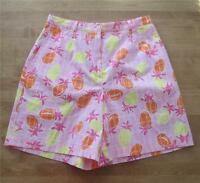 Lilly Pulitzer Size 4 Pink Yellow Orange Cotton Shorts Pineapples