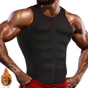 Men/'s Zipper Neoprene Sauna Vest Fitness Sweat Shirt Body Shaper Tank Tops UK