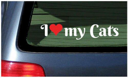 I Love My Cats Sticker Vinyl Decal Car Window Fun Kitten Cat Lover Crazy Lady