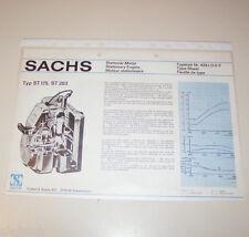 Typenblatt / Technische Daten Sachs Stationär Motor ST 175, ST 203 - Stand 1974!