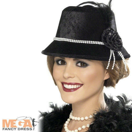 1920s Black Flapper Girl Hat Ladies Fancy Dress 20s Gatsby Costume Accessory