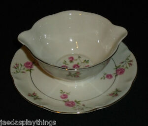 Haviland-DELAWARE-New-York-Gravy-Boat-Attached-Underplate-Pink-Roses